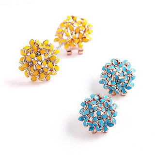 Jewels Galaxy Limited Edition Luxuria AAA American Diamond Floral Designer Earrings For Women/Girls Combo - 2