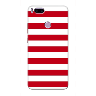 Printed Designer Back Cover For Redmi A1 - Red white Stripes Design