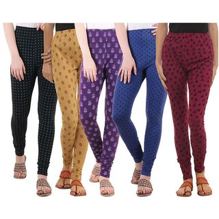 LIPS Cotton Lycra Printed Leggings pack of 5
