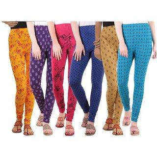 LIPS Cotton Lycra Printed Leggings pack of 6
