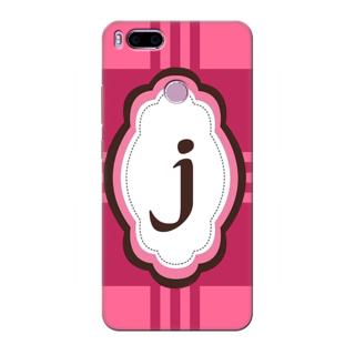 Printed Designer Back Cover For Redmi A1 - Pink Stripes Pattern Letter Alphabet J Design
