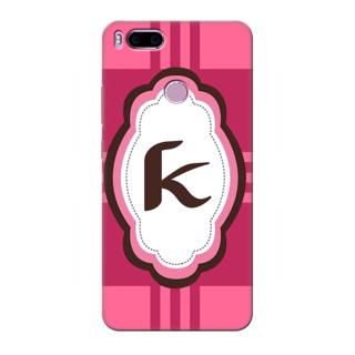 Printed Designer Back Cover For Redmi A1 - Pink Stripes Pattern Letter Alphabet K Design