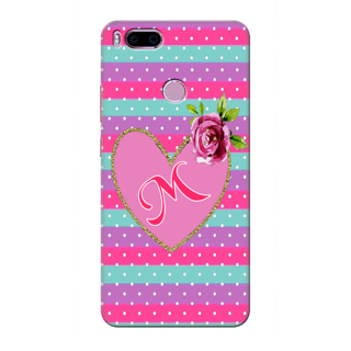 Printed Designer Back Cover For Redmi A1 - White Polka Pink Heart Letter Alphabet M Design