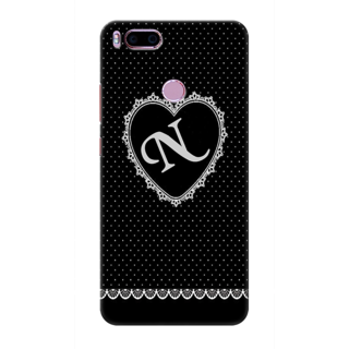 Printed Designer Back Cover For Redmi A1 - Diamonds Decorated Heart Letter Alphabet N Design