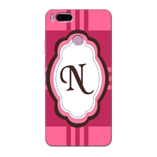 Printed Designer Back Cover For Redmi A1 - Pink Stripes Pattern Letter Alphabet N Design