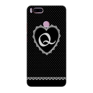 Printed Designer Back Cover For Redmi A1 - Diamonds Decorated Heart Letter Alphabet Q Design