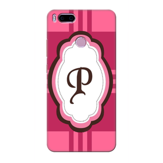 Printed Designer Back Cover For Redmi A1 - Pink Stripes Pattern Letter Alphabet P Design