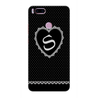 Printed Designer Back Cover For Redmi A1 - Diamonds Decorated Heart Letter Alphabet S Design