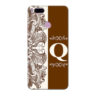 Printed Designer Back Cover For Redmi A1 - Floral Pattern Decorated Letter Alphabet Q Design