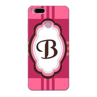 Printed Designer Back Cover For Redmi A1 - Pink Stripes Pattern Letter Alphabet B Design