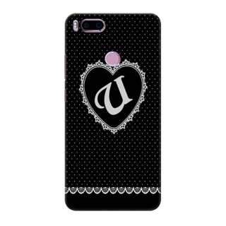 Printed Designer Back Cover For Redmi A1 - Diamonds Decorated Heart Letter Alphabet U Design