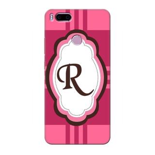 Printed Designer Back Cover For Redmi A1 - Pink Stripes Pattern Letter Alphabet R Design