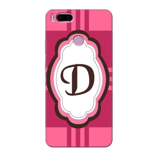 Printed Designer Back Cover For Redmi A1 - Pink Stripes Pattern Letter Alphabet D Design