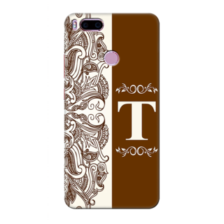 Printed Designer Back Cover For Redmi A1 - Floral Pattern Decorated Letter Alphabet T Design