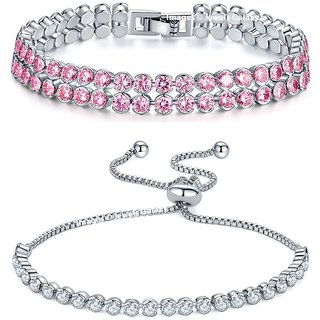 Jewels Galaxy Crystal Elements Exclusive Pink & Sparkling White Rhodium Plated Stunning Double And Single Strand Bracelet For Women/Girls - Combo of 2