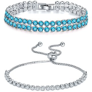 Jewels Galaxy Limited Edition Double Strand Aqua Blue And White Rhodium Plated Glamorous Bracelets For Women/Girls - Combo of 2