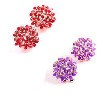 Jewels Galaxy Luxuria Trendy American Diamond Floral Designer Stunning Earrings For Women/Girls Combo - 2