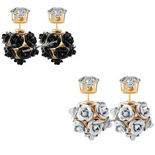 Jewels Galaxy Delicate Floral Design Luxuria Gold Plated Trendy Stud Earrings Collection For Women/Girls - Combo Of 2