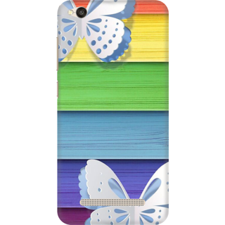 Printed Designer Back Cover For Redmi 5A - Butterflies colorful wooden panel Design