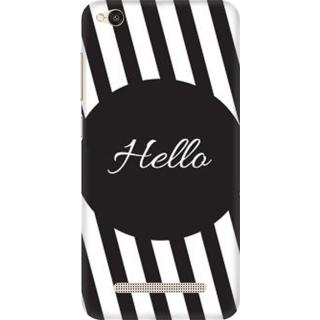 Printed Designer Back Cover For Redmi 5A - Hello Black Parallel Stripes Design