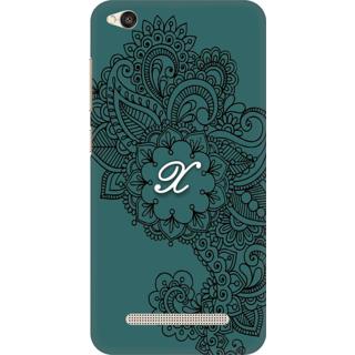 Printed Designer Back Cover For Redmi 5A - Ornamental Pattern Letter Alphabet X Design