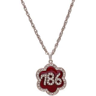 Memoir Brass silver plated CZ star shape red enamel 786 chain pendant