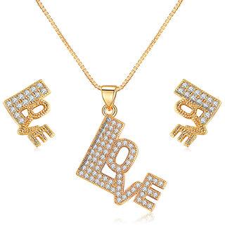 Jewels Galaxy Exclusive Luxuria Valentine Special Sparkling Love Designer Gold Plated Splendid Pendant Set For Women/Girls