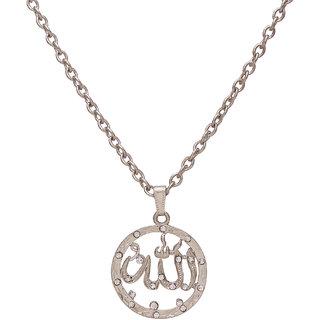 Memoir Brass Silver CZ round Allah word chain pendant