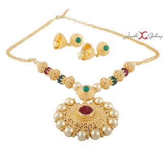 c8d569f196f2e Jewels Galaxy Exclusive Glamorous Pearl Designer Traditional Gold Plated  Necklace Set For Wedding/Party