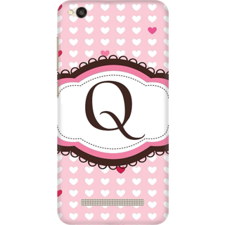 Printed Designer Back Cover For Redmi 4A - Heatrs Grunge Pattern Letter Alphabet Q Design