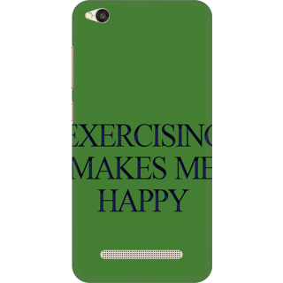 Printed Designer Back Cover For Redmi 4A - Exercising Makes me Happy Design