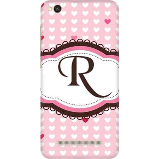 Printed Designer Back Cover For Redmi 4A - Heatrs Grunge Pattern Letter Alphabet R Design