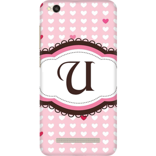 Printed Designer Back Cover For Redmi 4A - Heatrs Grunge Pattern Letter Alphabet U Design