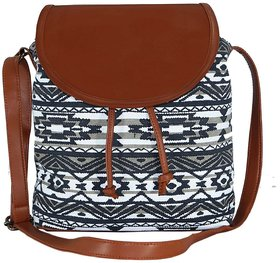 Suprino Printed Cotton Canvas With Pu Flap Sling Bag Fo