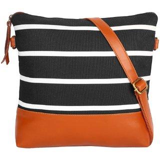 Suprino Beautiful printed Canvas sling bag for Girls / Women,s (black)