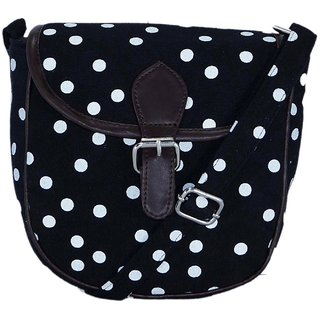 Suprino Printed cotton canvas polka dot sling bag for Girls and Women's (Black)