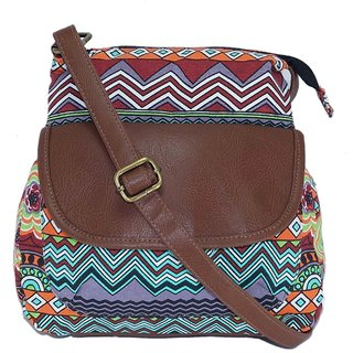 Suprino Beautiful printed cotton canvas sling bag for Girls and women ( Red )