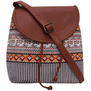 Suprino Beautiful printed cotton canvas with pu flap sling bag for Girls and women's