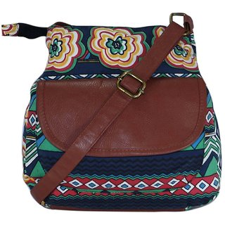 Suprino Beautiful printed cotton canvas Sling bag for Girls and Women's( multi)
