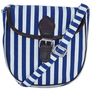 Suprino Women's Canvas strip printed sling bag for girls and women (blue)