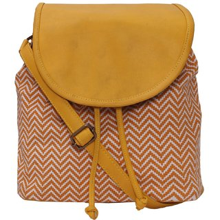 Suprino Beautiful printed cotton canvas with PU Flap Sling bag for Girls and women's (Orange colour)
