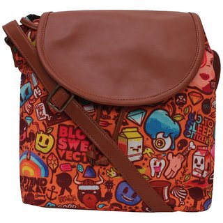 Suprino Beautiful printed poly canvas with PU Flap Slingbag for Girls and Women ( multi colour)