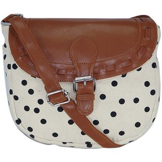 Suprino Beautiful printed cotton canvas polka dot sling bag for Girls and women ( Cream / black)