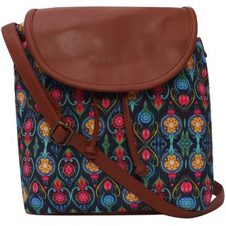 Suprino Beautiful printed poly canvas with pu flap Sling bag for Girls and Women's( multi colour)