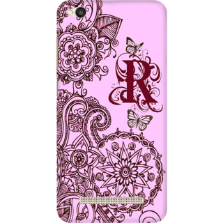 Printed Designer Back Cover For Redmi 4A - Floral Pattern Letter Alphabet R Design