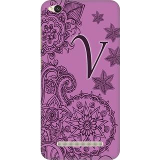 Printed Designer Back Cover For Redmi 4A - Floral Pattern Letter Alphabet V Design