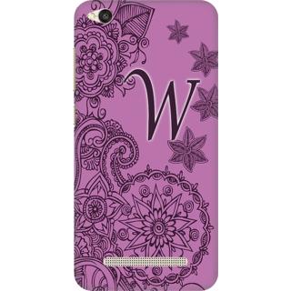 Printed Designer Back Cover For Redmi 4A - Floral Pattern Letter Alphabet W Design