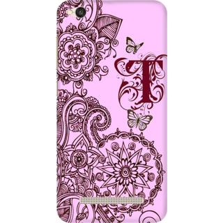 Printed Designer Back Cover For Redmi 4A - Floral Pattern Letter Alphabet T Design