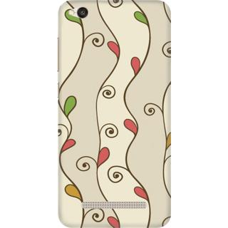 Printed Designer Back Cover For Redmi 4A - Colorful Leaves Grunge Pattern Design