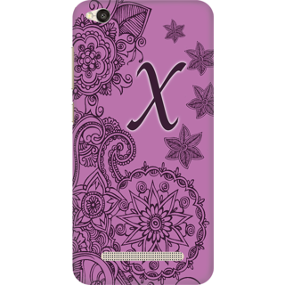 Printed Designer Back Cover For Redmi 4A - Floral Pattern Letter Alphabet X Design